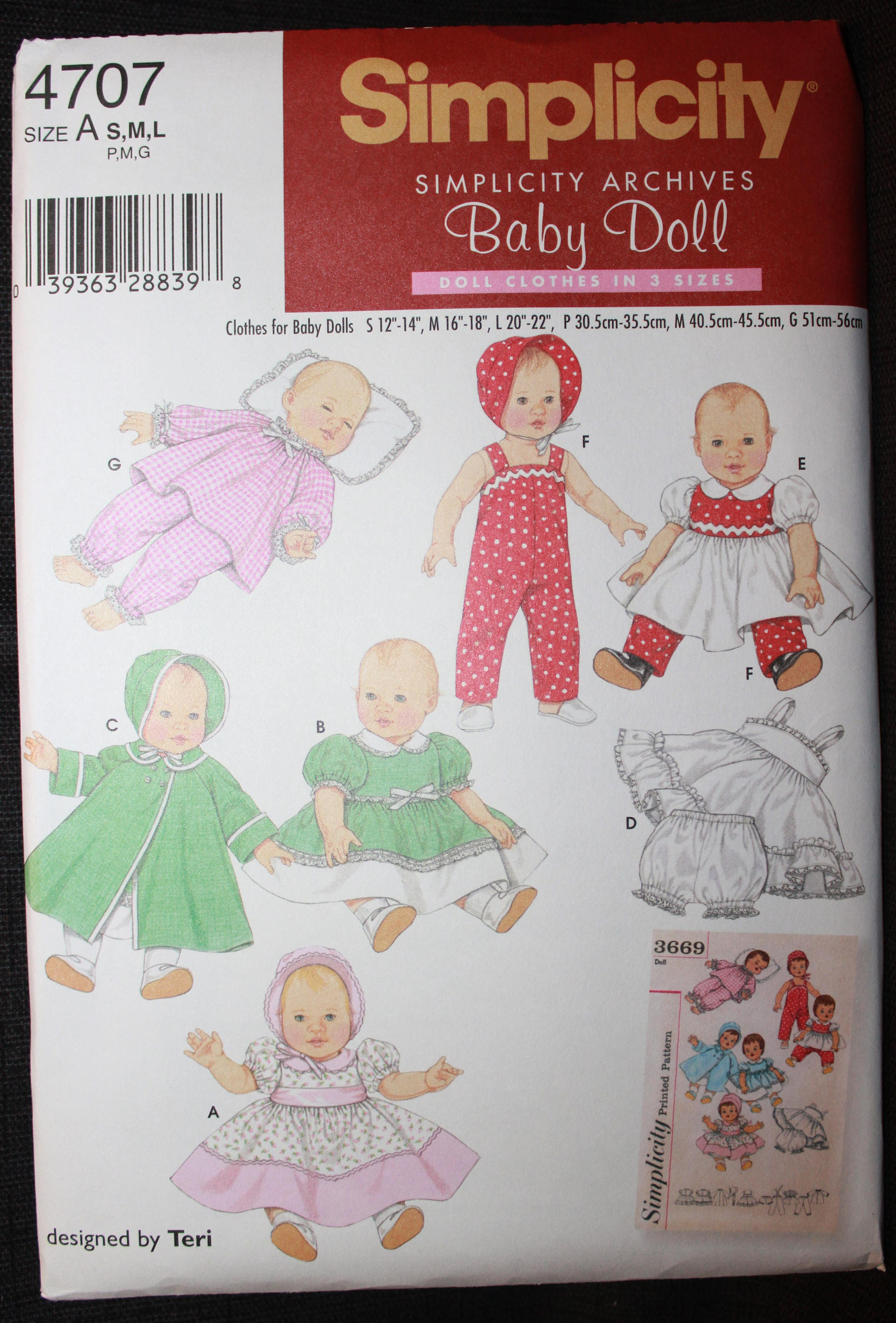 "3 SIZES 12/""-22/"" SIMPLICITY SEWING PATTERN 4707 RETRO//VINTAGE BABY DOLL CLOTHES"