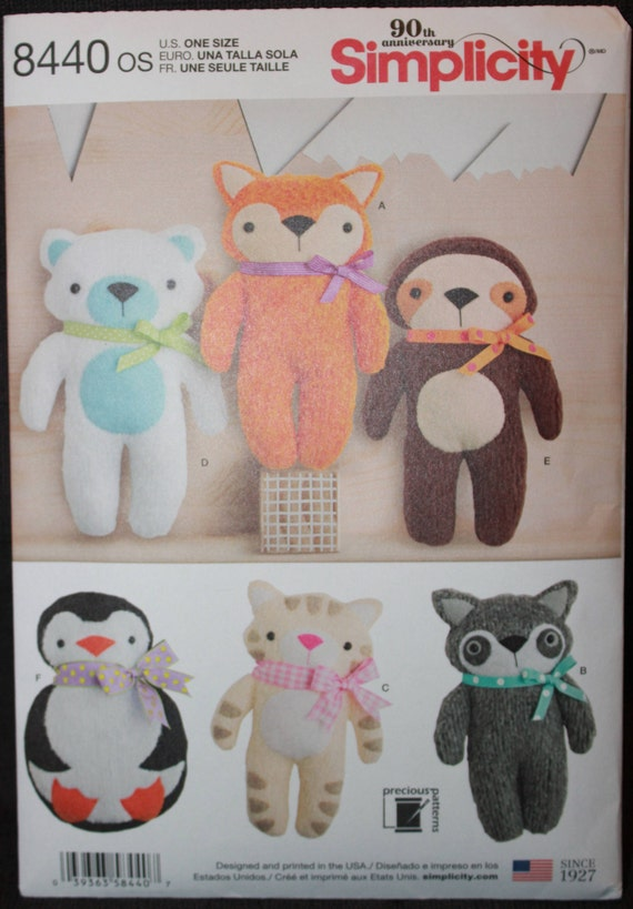 FOX~RACCOON~KITTEN~PENGUIN~BEAR SEWING PATTERN MAKE PLUSH FELT~FLEECE ANIMALS