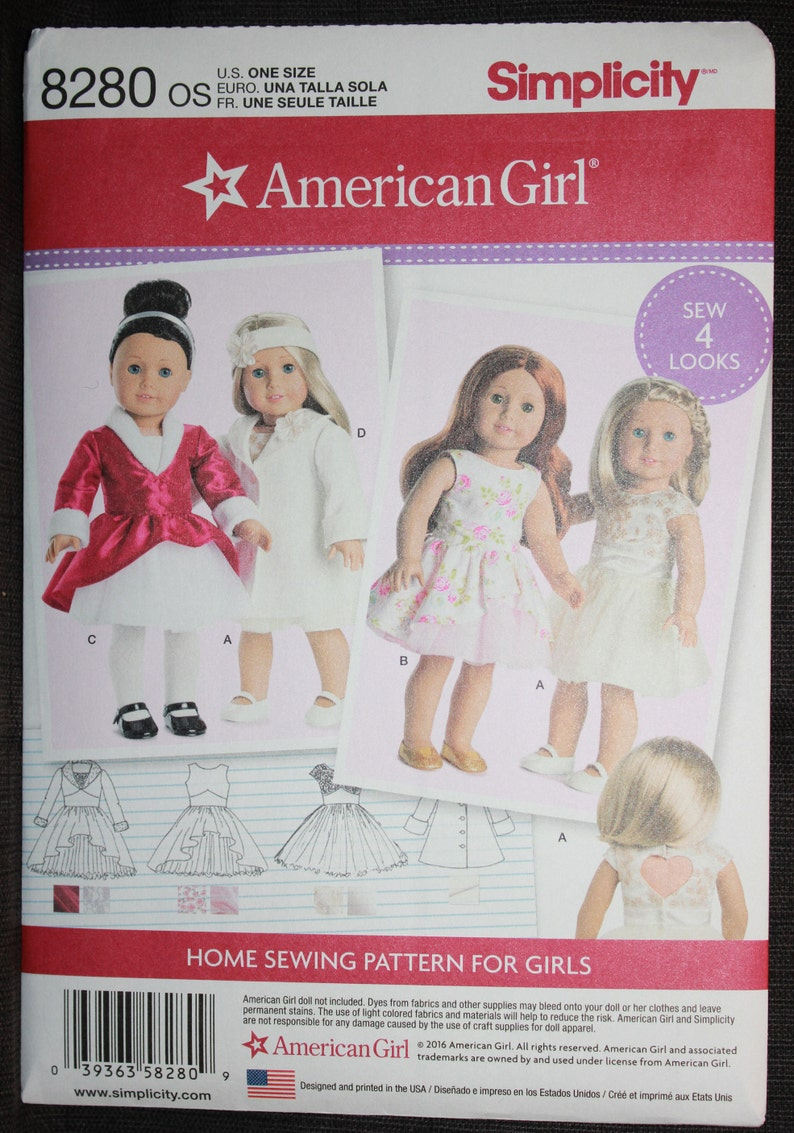 Simplicity 8280 American Girl Doll Dress Sewing Patterns for 18 Dolls