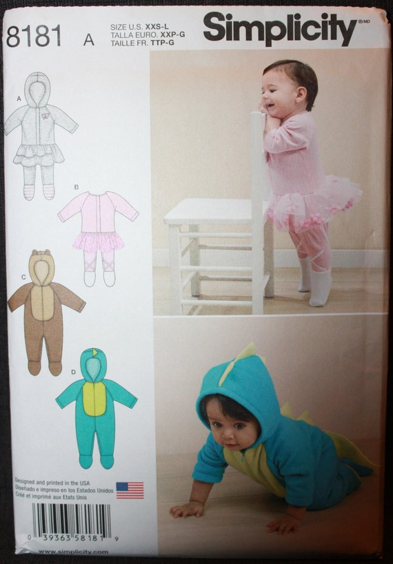 Simplicity Baby Knit /& Fleece Rompers-XXS-XS-S-M-L