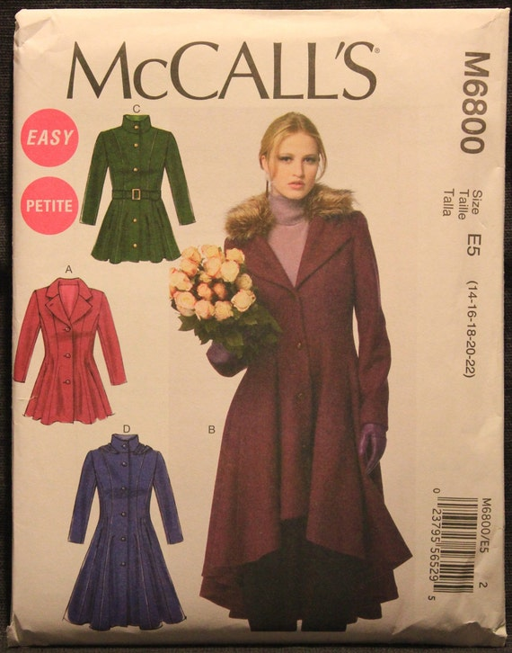Detachable Collar and Hood Sewing Template McCall Pattern Company M6800 Misses//Miss Petite Lined Coats Size E5 14-16-18-20-22 Belt