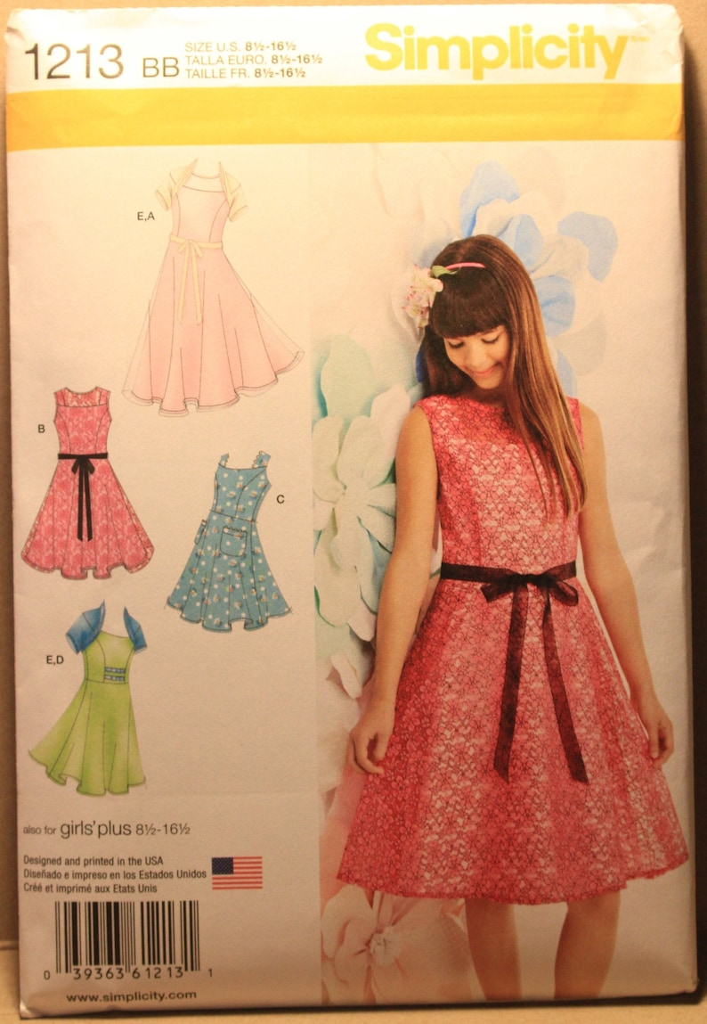 Simplicity Pattern 1213 BB Girls\' Plus Size Special Occasion or Casual  Dresses and Knit Shrug in Sizes 8 1/2 - 16 1/2