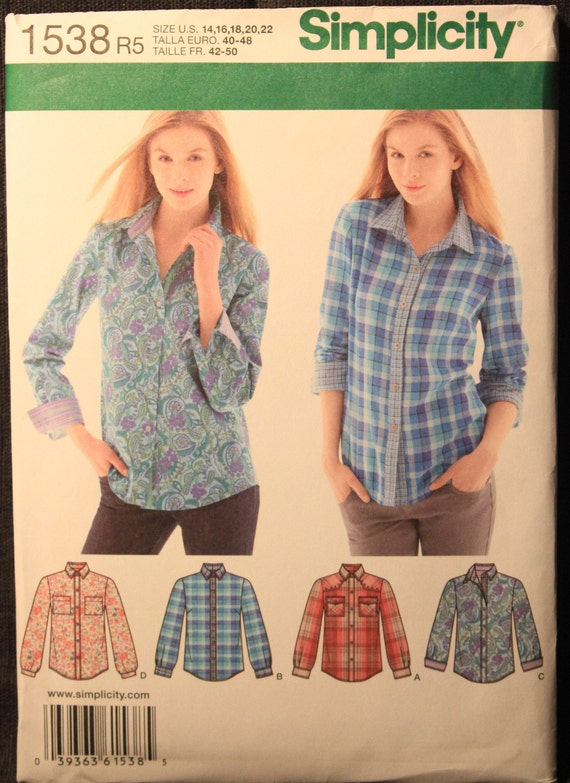 Simplicity Sewing Pattern Misses/' Button Front Shirt Dress Fabric 1538