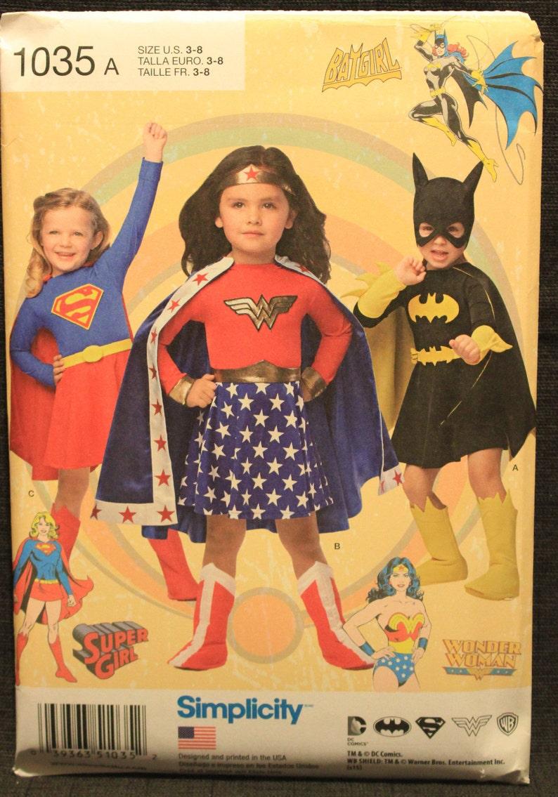 SIMPLICITY D0969 Justice League Childs Halloween Costume Pattern Sz 3 8 Uncut
