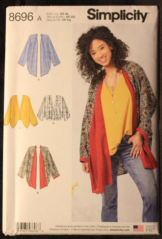 Kimono Sewing Pattern~4 Styles~Length Variations! Sizes XS-XL Simplicity 8419