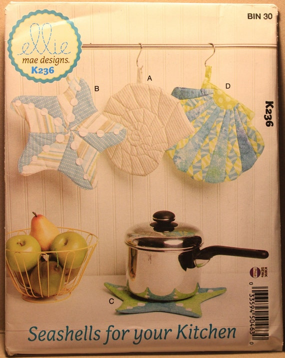 One Size Only KWIK-SEW PATTERNS Kwik Kitchen Accessories Animal Themed Pot Holder Sewing Patterns by Ellie Mae Designs