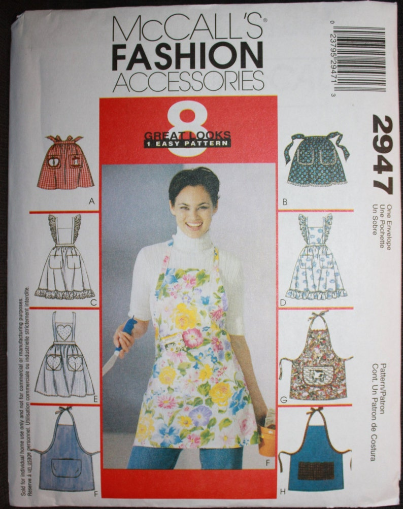 McCalls-2947-OSZ McCalls Ladies Easy Sewing Pattern 2947 Aprons