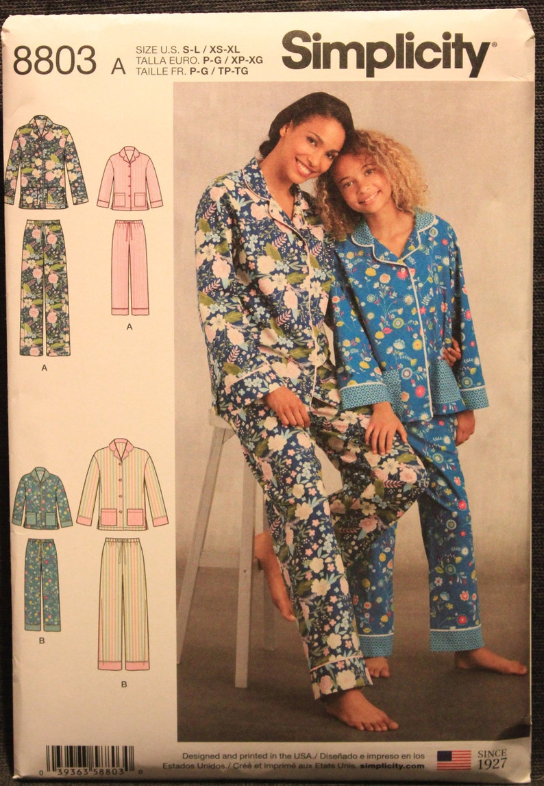 Simplicity Pattern 8803 Girls' and Misses' Lounge Pants and Shirt Girl's in  Sizes Sm-Med-Lrg and Misses' in Sizes XS-S-M-L-XL