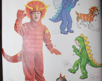 Simplicity Pattern 1765 H0207  Childs Dinosaur Costume in Sizes 3-4-5-6-7-8 and Dinosaur Dog Costume in Sizes Small-Medium-Large
