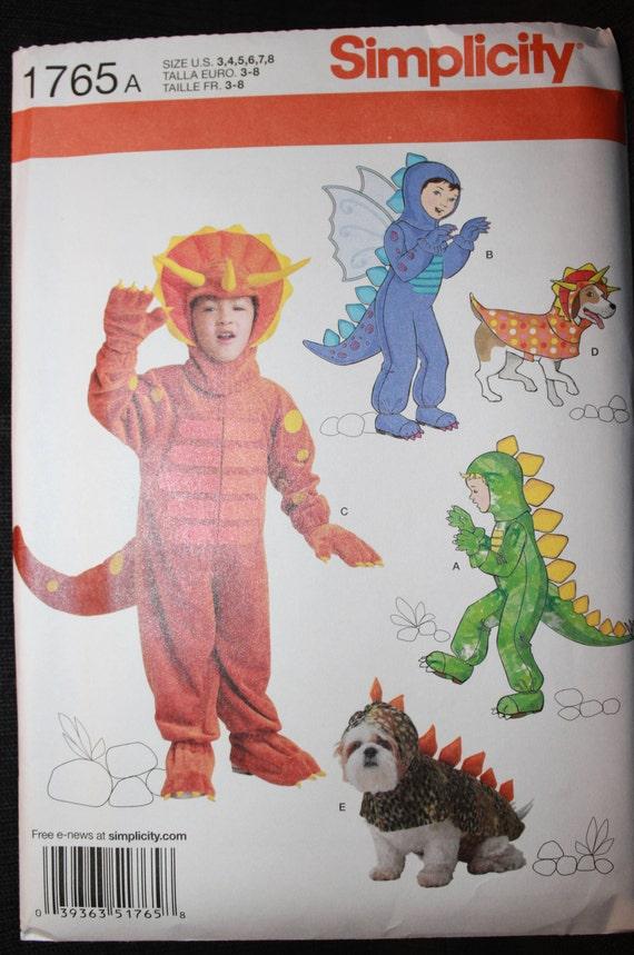 Einfachheit Muster 1765 Childs Dinosaurier Kostüm in den | Etsy
