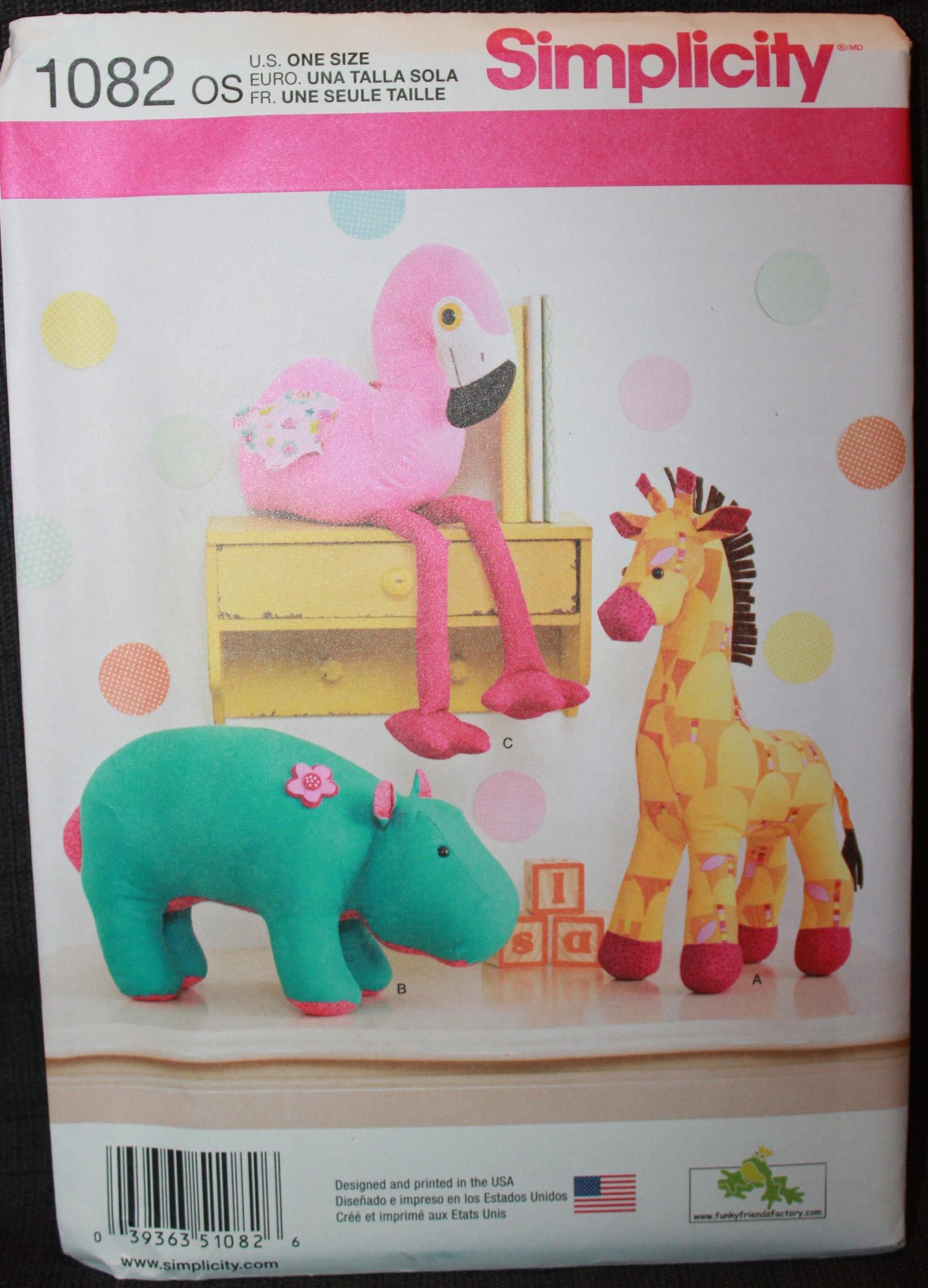 Hippo Simplicity 1082 Stuffed Animals Uncut NEW Giraffe Flamingo