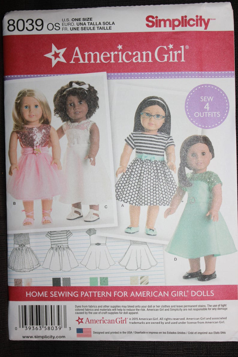 """Simplicity Pattern 8666 OS American Girl 18/"""" Doll Clothes 4 Outfits"""