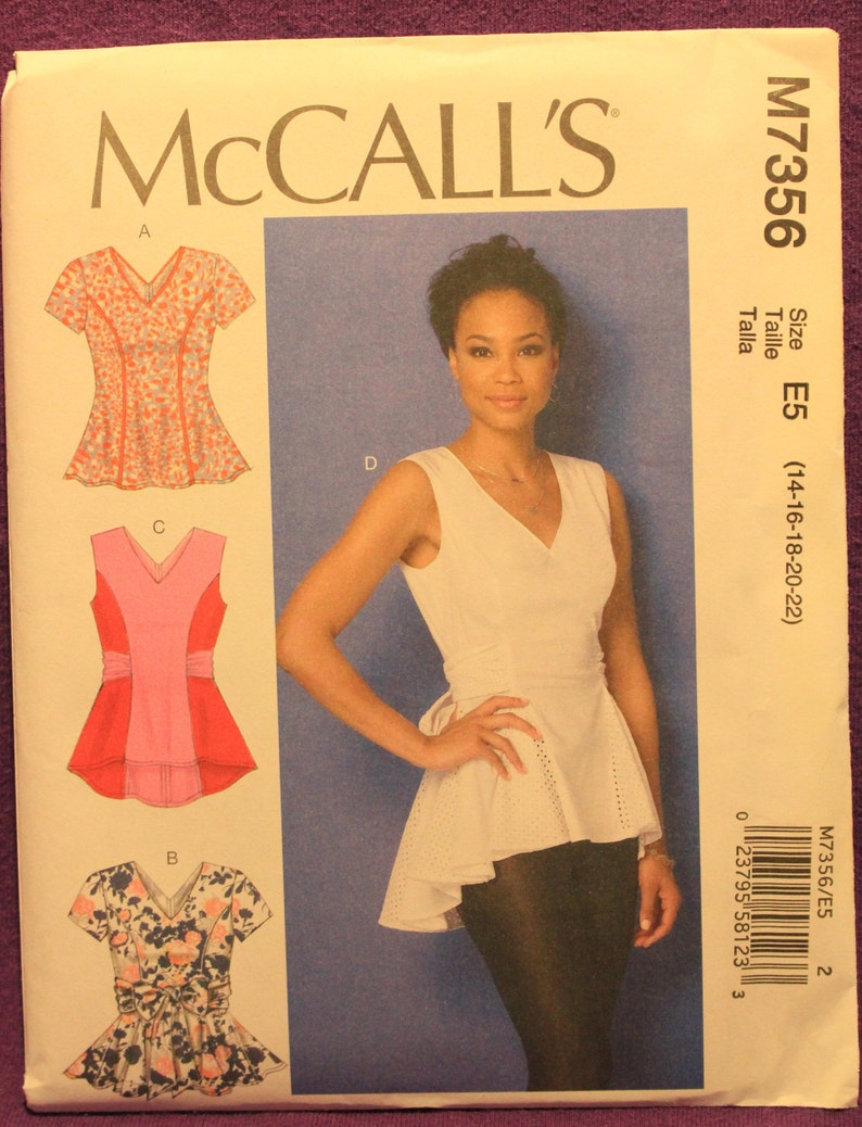 e89fb8839b3 McCalls Pattern 7356 E5 Misses  V-Neck Fit and Flare or