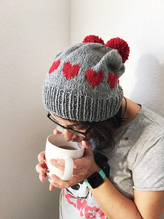 30a721f6a36 Hand Knitted Love Beanie Color Grey with Red hearts PomPom