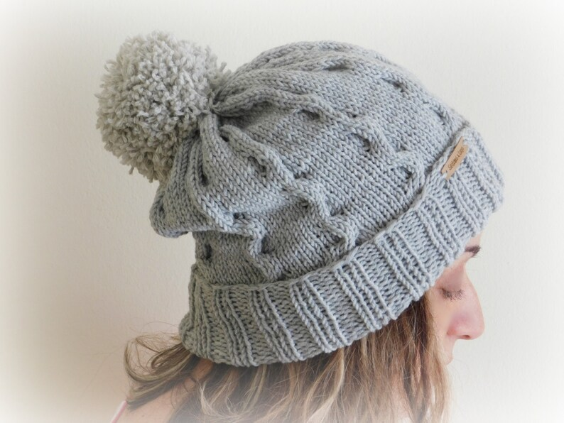 c0f24140d23 Made to Order Hand Knit Hat in Frost Grey Pom Pom Beanie