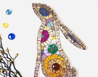 Mosaic Moon-gazing Hare Ornament; Woodland wall art; Woodland creatures; Handmade moon-gazing hare; Unique gift idea; Home decor
