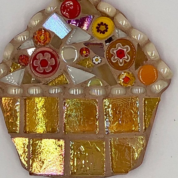 Handmade glass yellow mosaic hanging cupcake ornament Unique gift idea Kitchen decor Gift for her