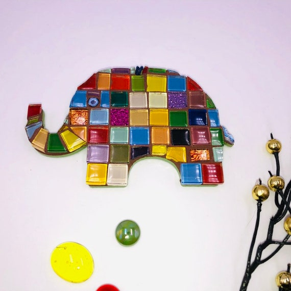 Handmade glass mosaic hanging patchwork elephant ornament Unique gift idea Elephant wall art Home decor Gift for her Gift for him