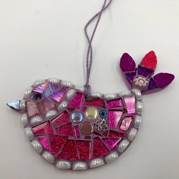 Handmade glass mosaic pink hanging bird ornament Unique gift idea Bird wall art Home decor Christmas gift