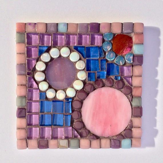 Handmade glass purple mosaic square coaster Unique gift idea Living room decor