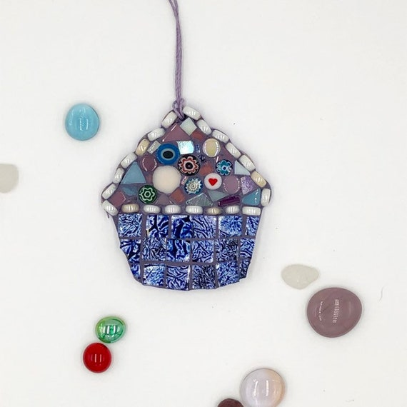 Handmade glass blue mosaic hanging cupcake ornament Unique gift idea Kitchen decor Christmas gift