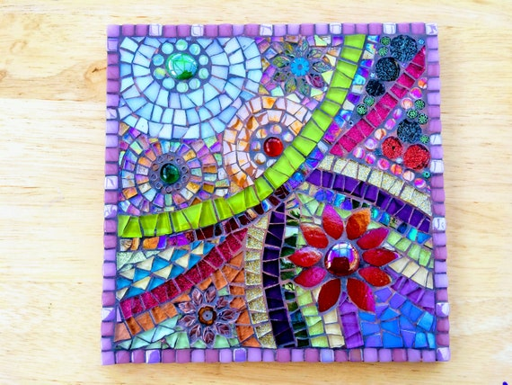 Handmade glass abstract flower mosaic picture Mosaic wall art Unique gift idea Home decor  'Flower Anatomy in Pink'
