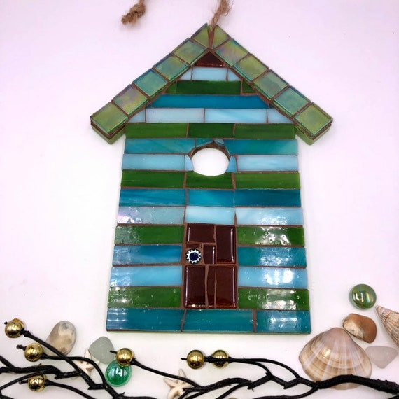 Handmade glass mosaic hanging green blue beach hut ornament Unique gift idea Home decor Gift for her Seaside art Wall art Wall decor