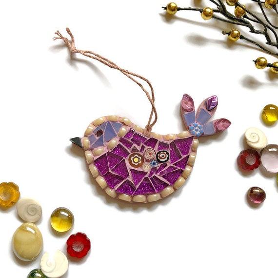 Mosaic Bird Ornament; Bird wall art; Handmade purple bird ; Unique gift idea; Home decor