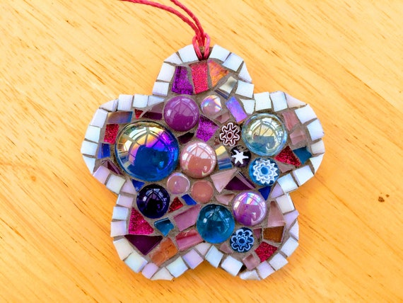 Handmade glass mosaic  hanging flower ornament, pink, purple Unique gift idea Home decor Gift for her Mothers' Day
