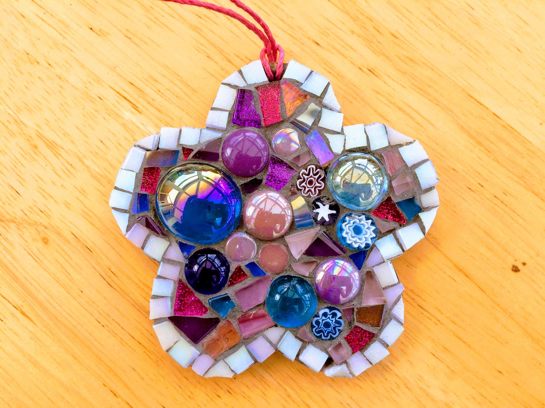 Handmade Glass Mosaic Hanging Flower Ornament Pink Purple Unique