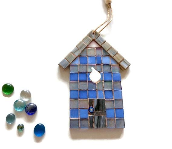 Handmade glass mosaic hanging blue and grey beach hut ornament Unique gift idea Home decor Seaside art Wall art Wall decor