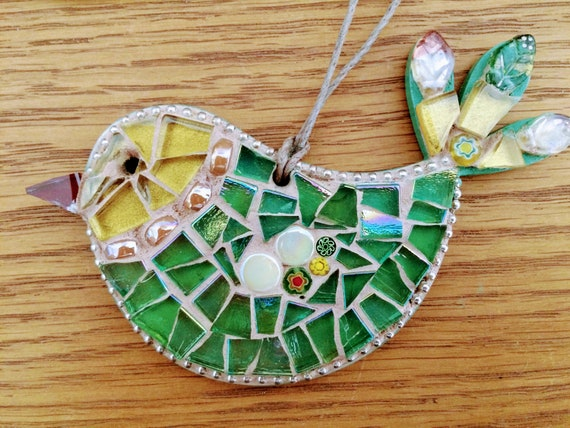 Handmade glass mosaic green and gold hanging bird ornament Unique gift idea Bird wall art Home decor Gift for her