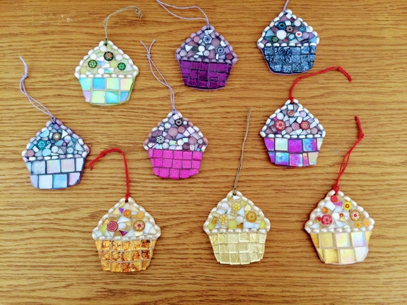 Handmade glass mosaic hanging cupcake ornament Unique gift idea Kitchen decor Gift for her Home decor Various colours