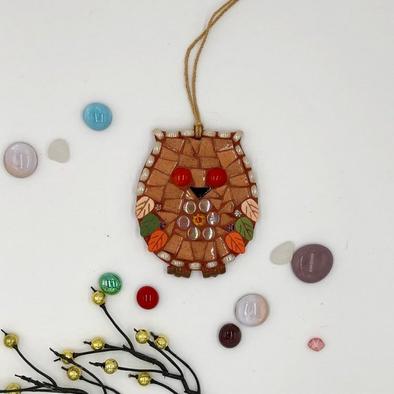 Handmade glass mosaic copper hanging owl ornament Unique gift idea Home decor Christmas gift
