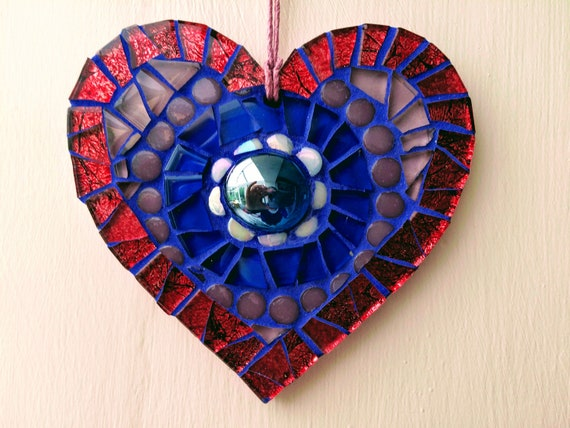 Handmade glass mosaic hanging red blue purple heart ornament Unique gift idea Home decor Gift for her Heart gift Wall art Wall decor