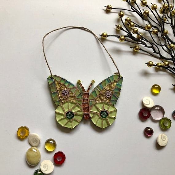 Handmade glass green hanging butterfly mosaic  Butterfly ornament Unique gift idea Home decor Christmas gift