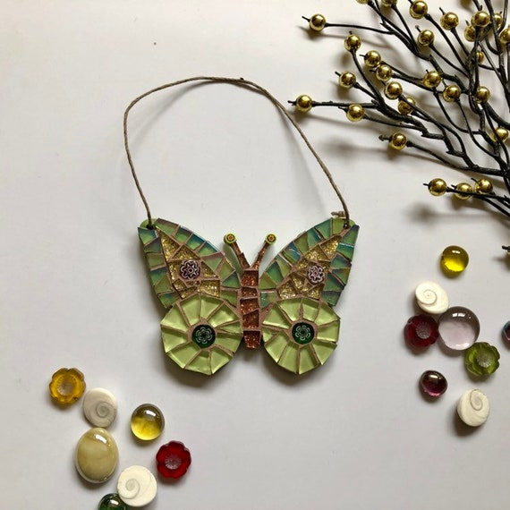 Handmade glass green hanging butterfly mosaic  Butterfly ornament Unique gift idea Home decor