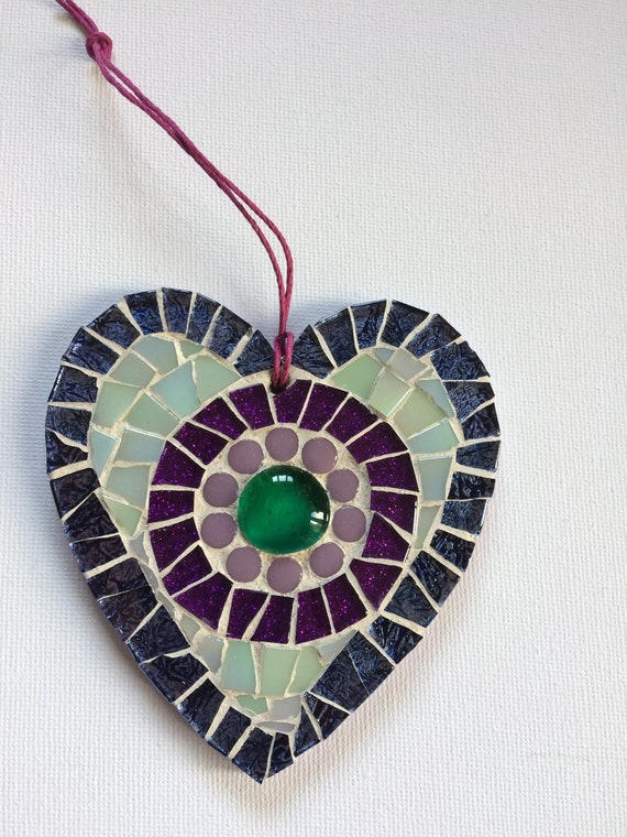 Handmade glass mosaic hanging purple blue green heart ornament Unique gift idea Home decor Gift for her Heart gift Wall art Wall decor