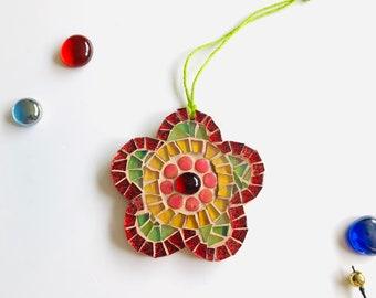 Mosaic Flower Ornament; Flower wall art; Handmade glass flower ; Unique gift idea; Home decor