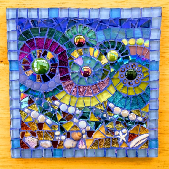 Handmade glass and pebble mosaic picture Unique gift idea Home decor 'Seascape in Blue' Mosaic wall art