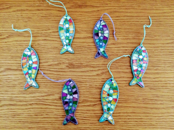 Handmade glass mosaic hanging  fish ornament Unique gift idea Bathroom decor Wall art Home decor Various colours