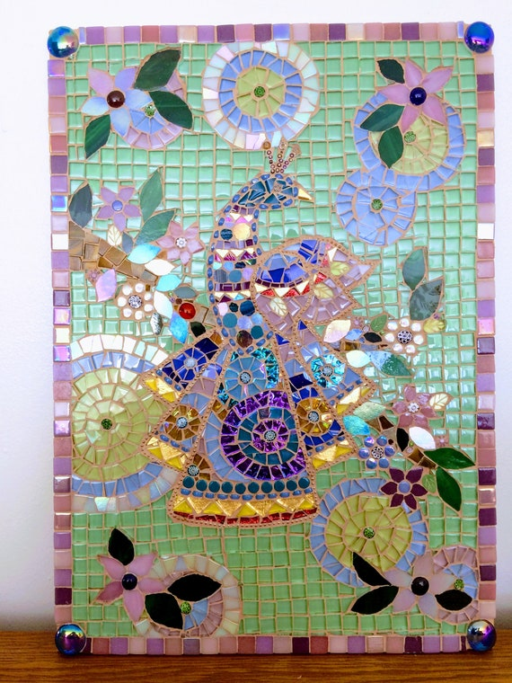 Handmade glass abstract peacock and tree Indian folk art mosaic picture Unique gift idea Home decor Mosaic wall art