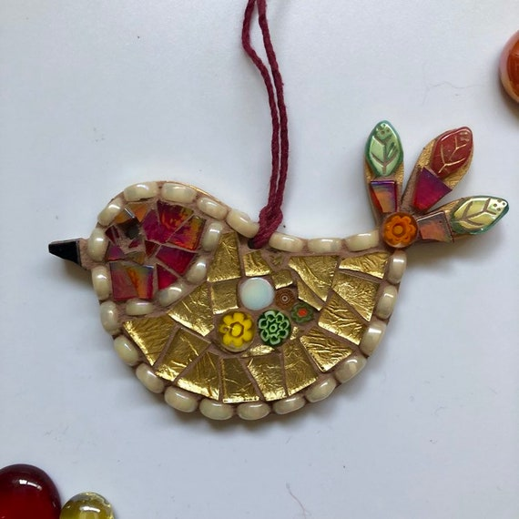 Handmade glass mosaic red and gold hanging bird ornament Unique gift idea Bird wall art Home decor Christmas gift