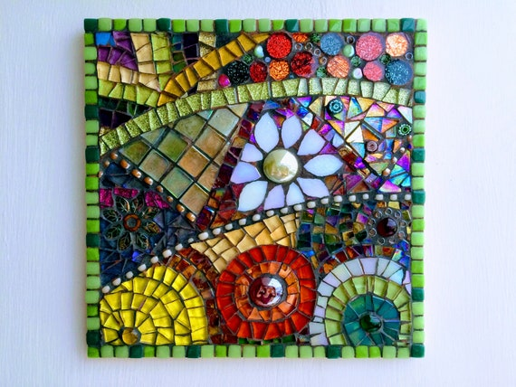 Handmade glass abstract flower mosaic picture Mosaic wall art Unique gift idea Home decor  'Flower Anatomy in Green'