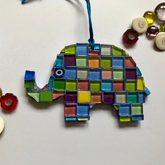 Handmade glass mosaic hanging patchwork elephant ornament Unique gift idea Elephant wall art Home decor