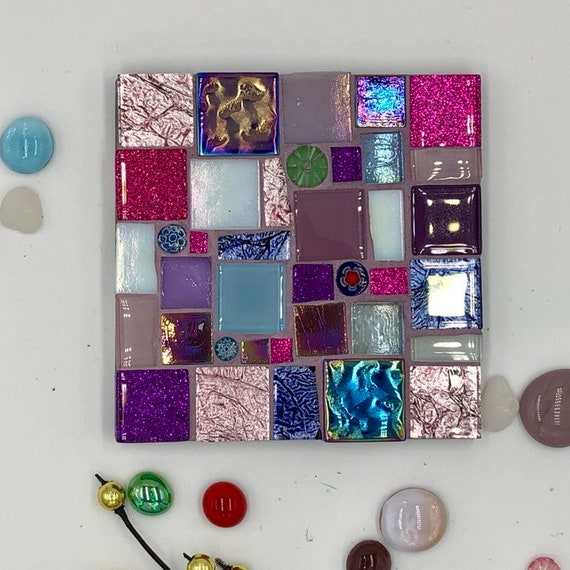 Handmade glass pink blue and purple mosaic square coaster Unique gift idea Living room decor Home decor
