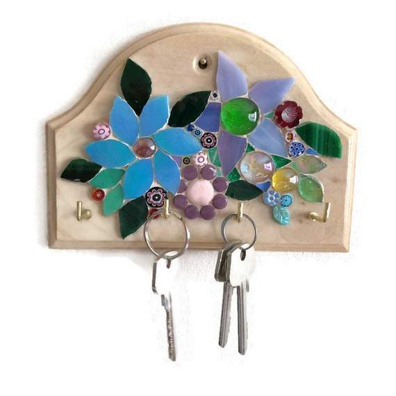 Wooden Key Holder; Wall Key Rack; Mosaic Flowers; Home Decor
