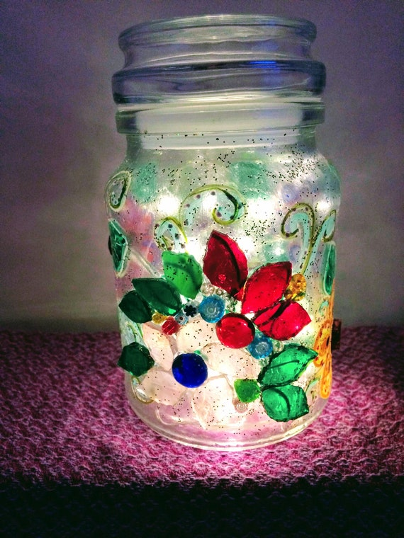Sparkly jar light Mosaic flower Painted flowers jar  Upcycled glass ornament  'Fireflies and Moonbeams' lights  Unique gift idea Home decor