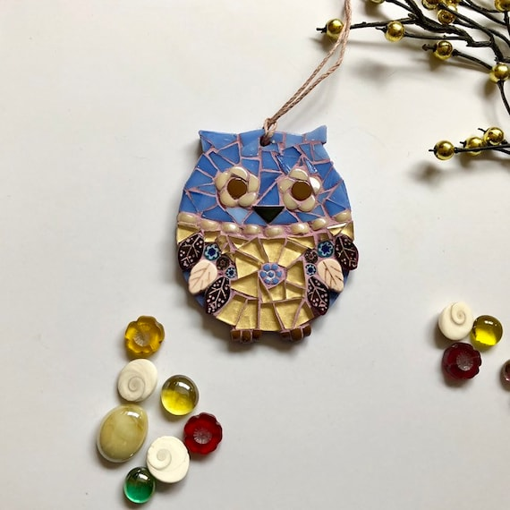 Handmade glass mosaic blue and gold hanging owl ornament Unique gift idea Home decor Mosaic wall art Christmas ornament
