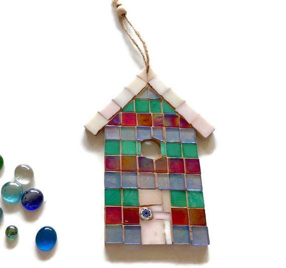 Handmade glass mosaic hanging green red and blue beach hut ornament Unique gift idea Home decor Seaside art Wall art Wall decor